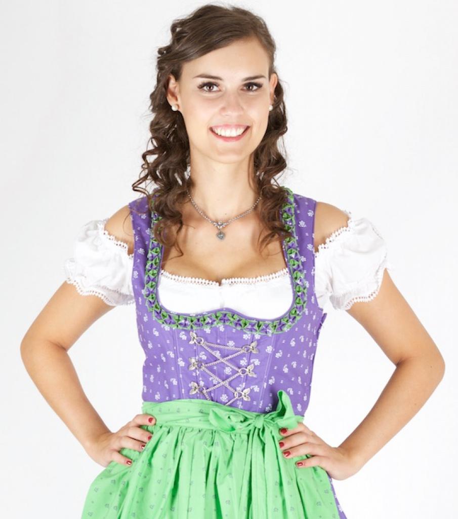 12996 baumwolldirndl 70er l nge lila gr n dirndl for Lila und grun mischen