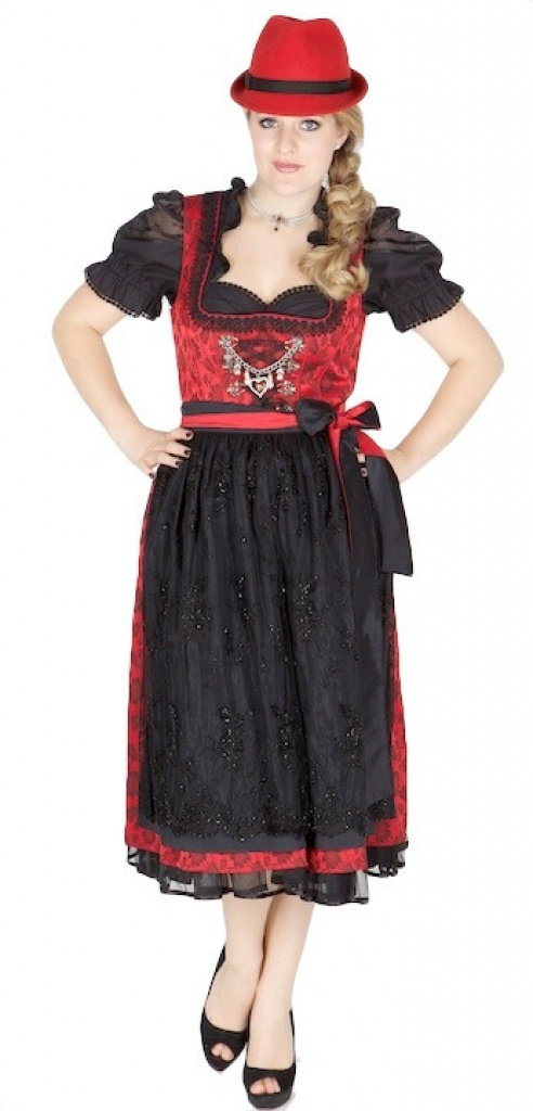 10867 country line 70er dirndl gr 36 rot schwarz dirndl. Black Bedroom Furniture Sets. Home Design Ideas