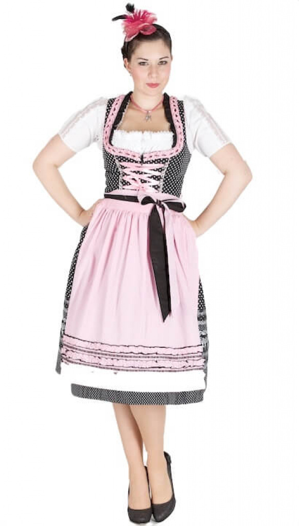 10897 kr ger madl 70er dirndl schwarz rosa dirndl. Black Bedroom Furniture Sets. Home Design Ideas