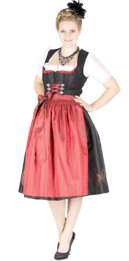 11170 kr ger manufaktur 70er dirndl schwarz rot. Black Bedroom Furniture Sets. Home Design Ideas