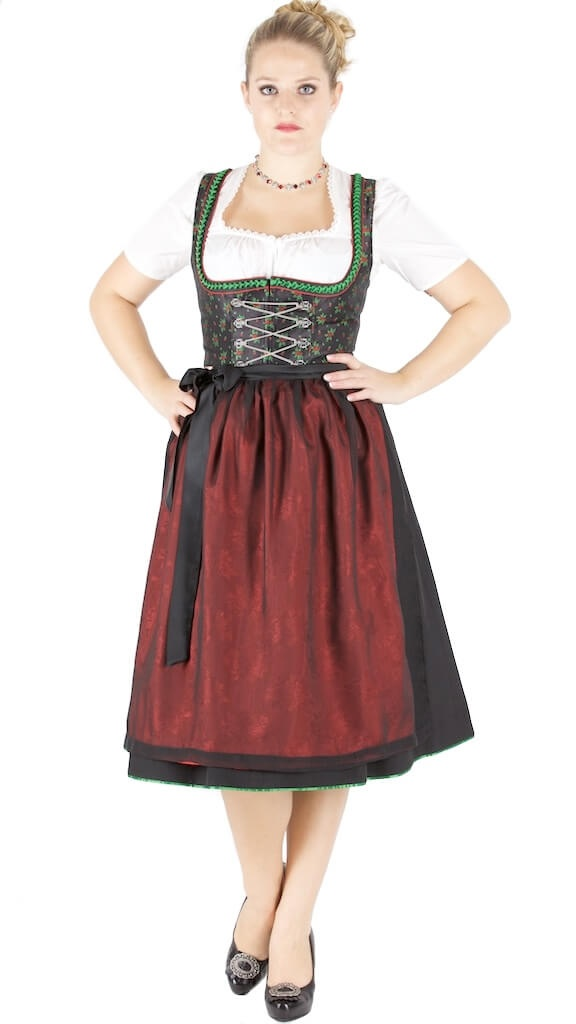 13780 wenger dirndl 70er gr 38 schwarz gr n rot dirndl. Black Bedroom Furniture Sets. Home Design Ideas