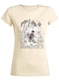 Lady Edelweiss Damen T-Shirt 20430 Dame auf Roller Natur