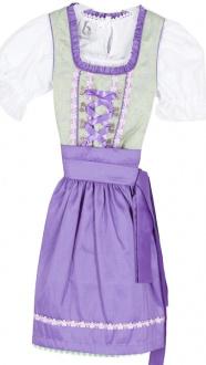 2066 Bergweiss Kinderdirndl mit Bluse lila grün