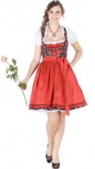 14194 Bergweiss 55er Dirndl schwarz rot