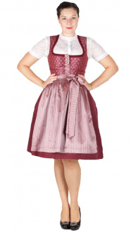 Country Line 60er Dirndl 16255 bordeaux altrosa
