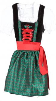 2106 Bergweiss Kinderdirndl mit Bluse schwarz grün rot