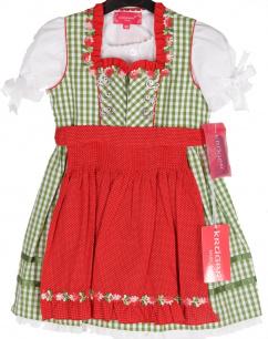 45141 Krüger Kinderdirndl 3teilig mit Bluse grün weiß rot