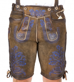 Bertolo Antik nuss kurze Lederhose Blaustick