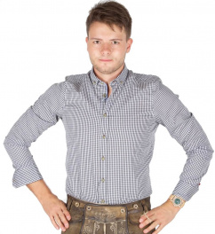 C42615-21217 Pure Trachtenhemd karo schwarz 257 langarm