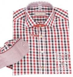 Orbis Herrenhemd 820000-2996/35 weinrot schwarz kariert