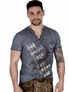 Fuchs Herren T-Shirt 141 Hirschmotiv grau