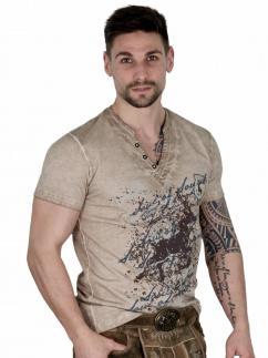 Fuchs Herren T-Shirt 141 Hirschmotiv sand