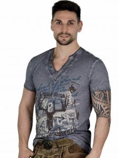 Fuchs Herren T-Shirt 142 Hirschkopfmotiv grau