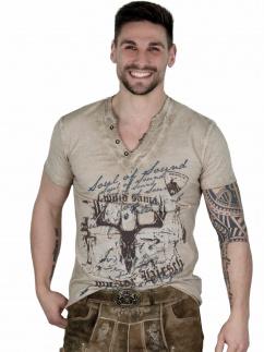 Fuchs Herren T-Shirt 142 Hirschkopfmotiv sand