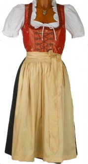 1243 Country Line 70er Dirndl Gr 32 orange gelb