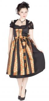3412 Rosen Dirndl 70er schwarz orange