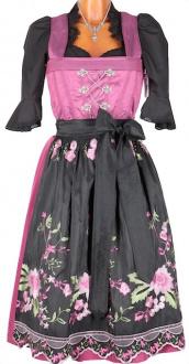 3619 Country Line Dirndl pink schwarz 70er midi