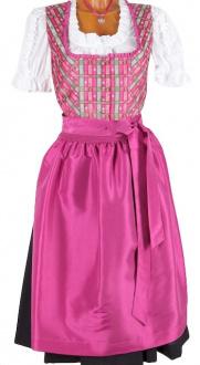4387 Isar Trachten midi Dirndl 70er pink schwarz