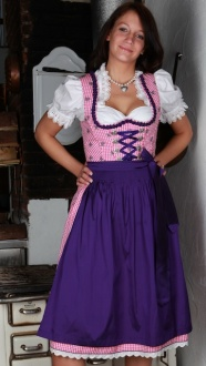 4397 Freches Country Line 50er mini Dirndl Gr 40 pink lila