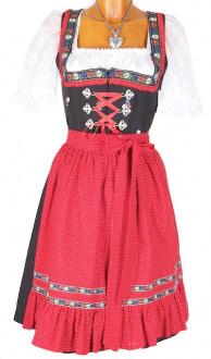 5788 Wenger Dirndl Wenke schwarz rot 60er