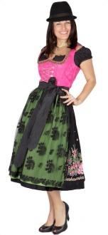 7857 Country Line 70er Dirndl Gr 34 pink schwarz grün mit Doppelschürze