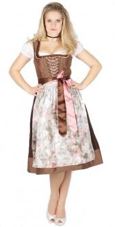 8184 Tramontana 70er Dirndl braun rosa Motivschürze