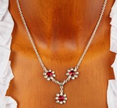 VH91068 3er Blütencollier 925er Silberschmuck rot