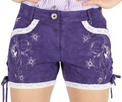44850 Sexy Hot Pants Lederhose Damen lila silberne Stickerei