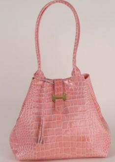 BE35 Damen Lack Ledertasche rosa in Beutelform