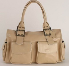 BE220 Damen Lederhandtasche in beige