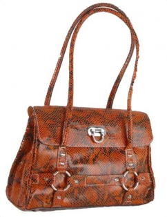 T1276 Damen Ledertasche in Kokodruck rost orange schwarz