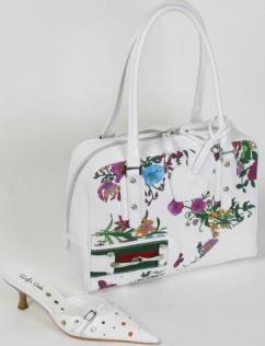 8690 Henkeltasche mit Blumen weiß