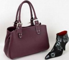 T858 Damen Lederhandtasche in lila mit Strass