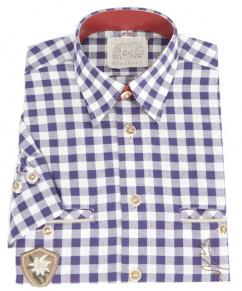 Orb31 Herren Trachtenhemd dunkelblau Krempelarm Karo mittel