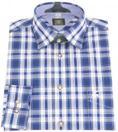 Orb34 Herren Trachtenhemd dunkelblau langer Arm Karo