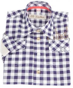 26263  OS Trachten Kinderhemd blau-weiss karo Lausbub