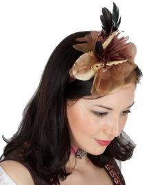 13028 Haarreif mit Blume und Geweih bronze