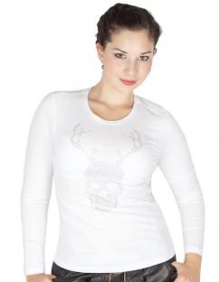 ZauberAlm T-Shirt Skull Strass komplett weiss Gr  34