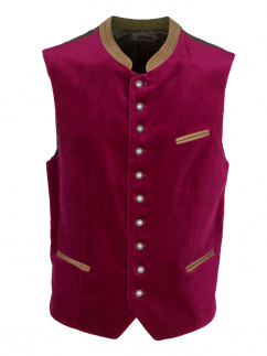Gilet Herrenweste Stams Samt in fuchsia (072)