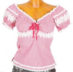38861 Krüger Madl Bluse weiss pink kariert Gr 34