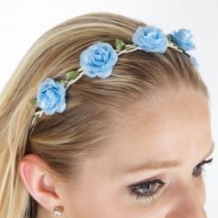 26007 Haarband mit Blüten hellblau