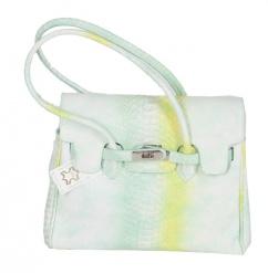 3938 Damen Lederhandtasche in grün gelb weiß