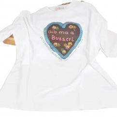 Girardelli T-Shirt weiß mit Lebkuchenherz-Motiv Gib ma a Busserl
