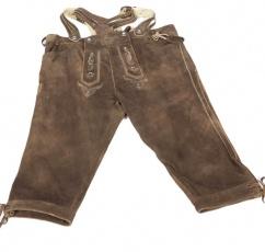 X 9428  Kniebundlederhose mit Zopfträger Gr 58 antik urig braun