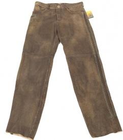 Spieth & Wensky lange Lederhose Romeo Gr 46 braun antik grün Stick