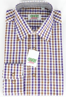 99280 Herren Trachtenhemd lila hellbraun karo