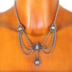 C209 Halskette mit vier Kristallsteinen vers.Farben