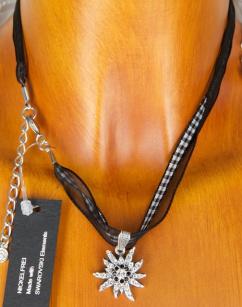 9291 silbernes Edelweiss Swarovski Kristalle schwarz vers.Farben