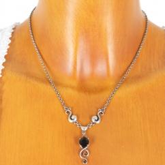 VH91015 Halskette mit Swarovski-Stein schwarz 925er Sterlingsilber